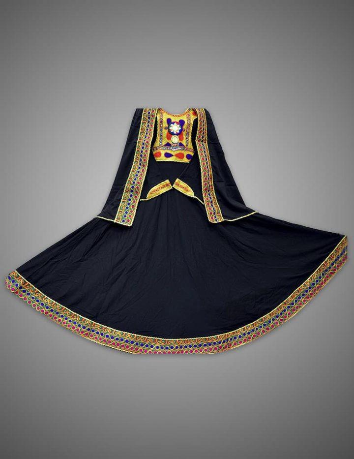 Minimal Black Afghani Dress with Frock
