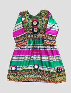 Green & Red Afghan Dress for Kids