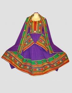 Magenta Green Afghani Frock Dress