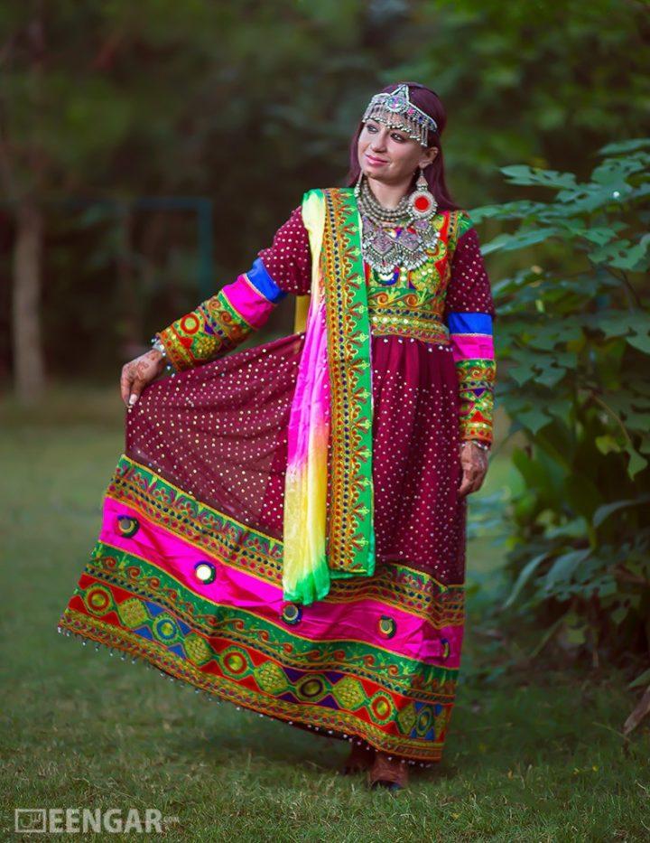 Deep Purple Full-Length Afghani Dress