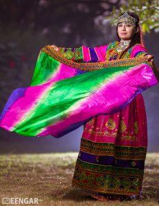 Green Pink Aghan Dress