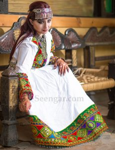 White Afghan Frock