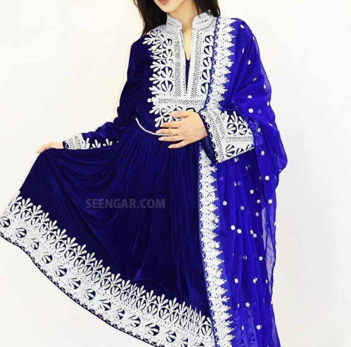 Navy Blue Velvet Afghan Dress