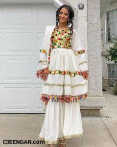 Spring White Afghan Dress