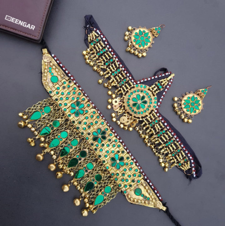 Golden Green Afghan Jewelry Set